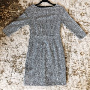 The Limited 3/4 sleeve dress black & white pattern